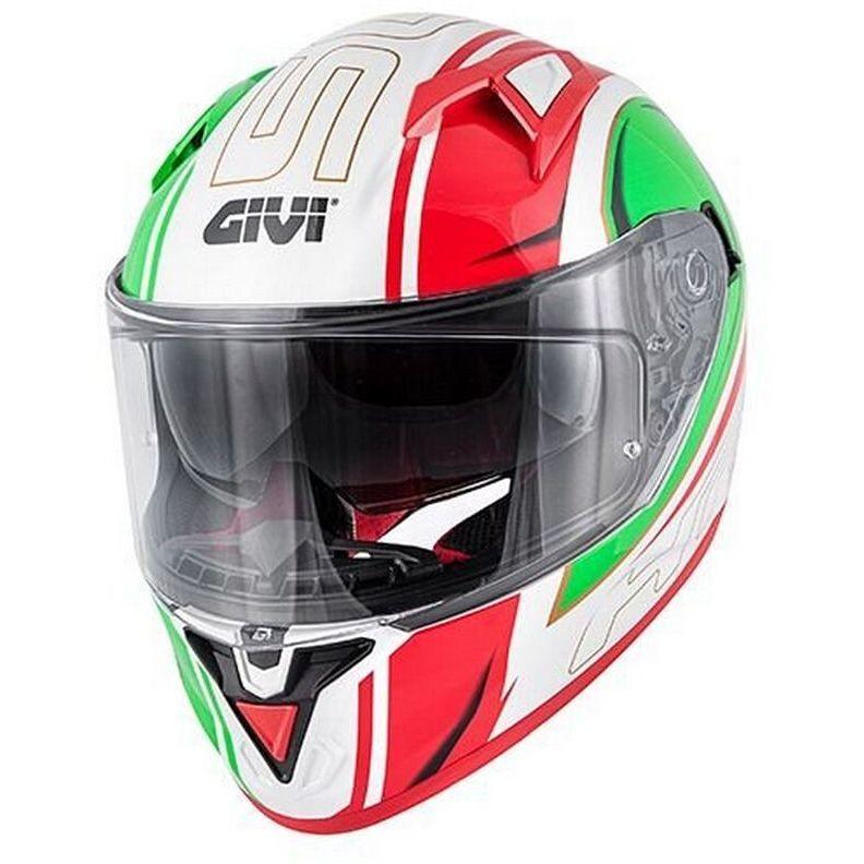 Casque moto intégral Givi 50.6 Stuttgart Blades blanc rouge vert double visière