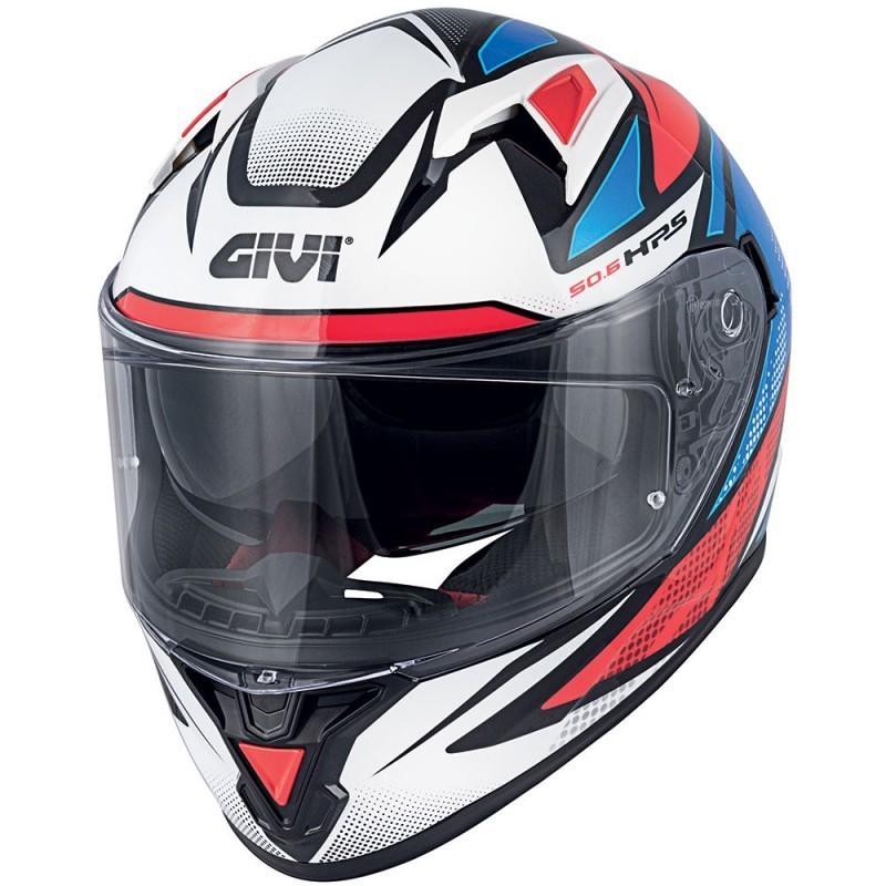 Casque moto intégral Givi 50.6 STUTTGART Follow Blanc Bleu Rouge