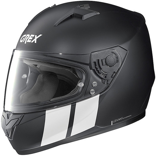 Casque moto intégral Grex G6.2 Stripes 012 Matt Black White