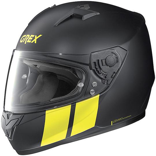 Casque Moto Intégral Grex G6.2 Stripes 013 Noir Mat Jaune