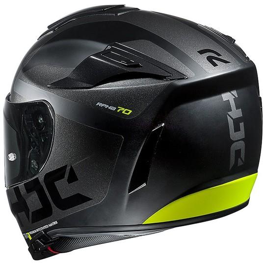 Casque moto intégral Hjc RPHA 70 double visière Balius MC5SF noir jaune