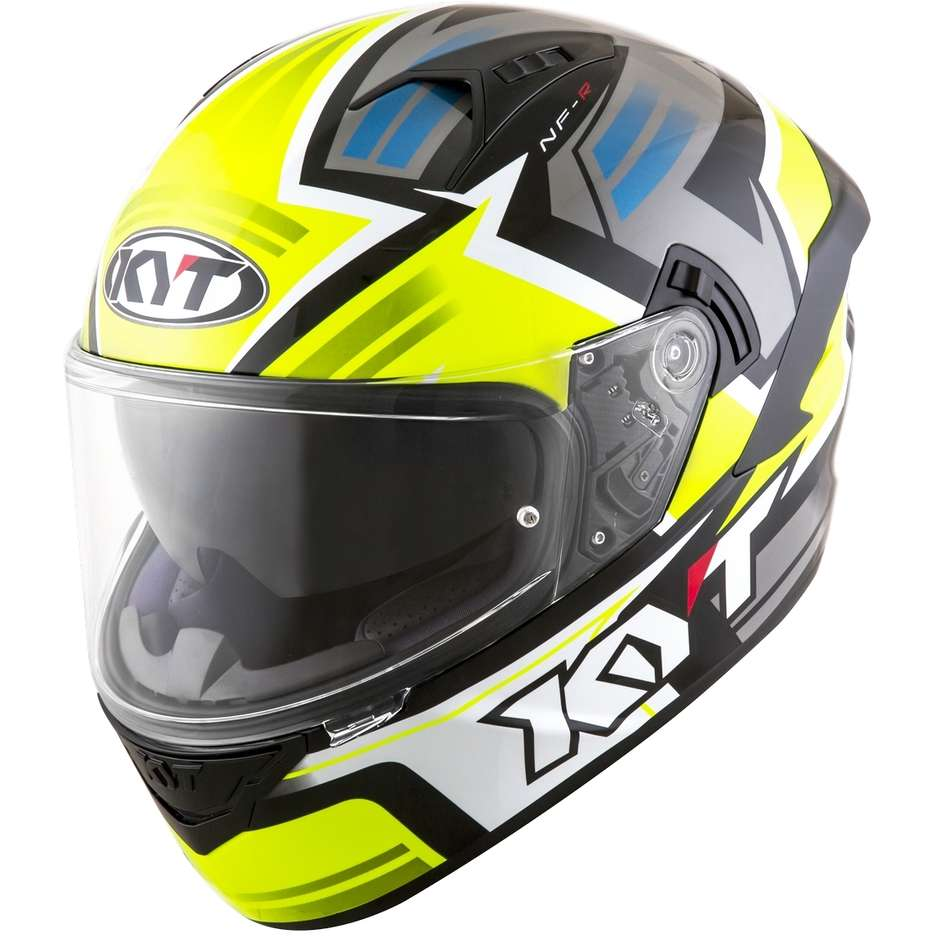 Casque Moto Intégral KYT NF-R ARTWORK Jaune Gris