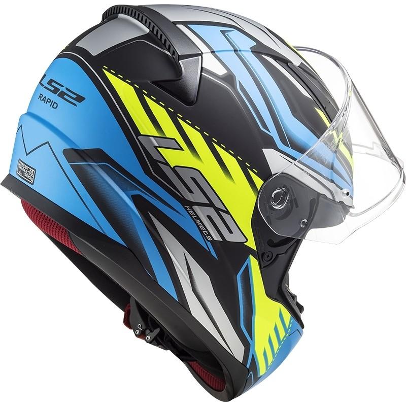 Casque Moto Intégral Ls2 FF353 Rapid GALE Noir Bleu Jaune Opaque