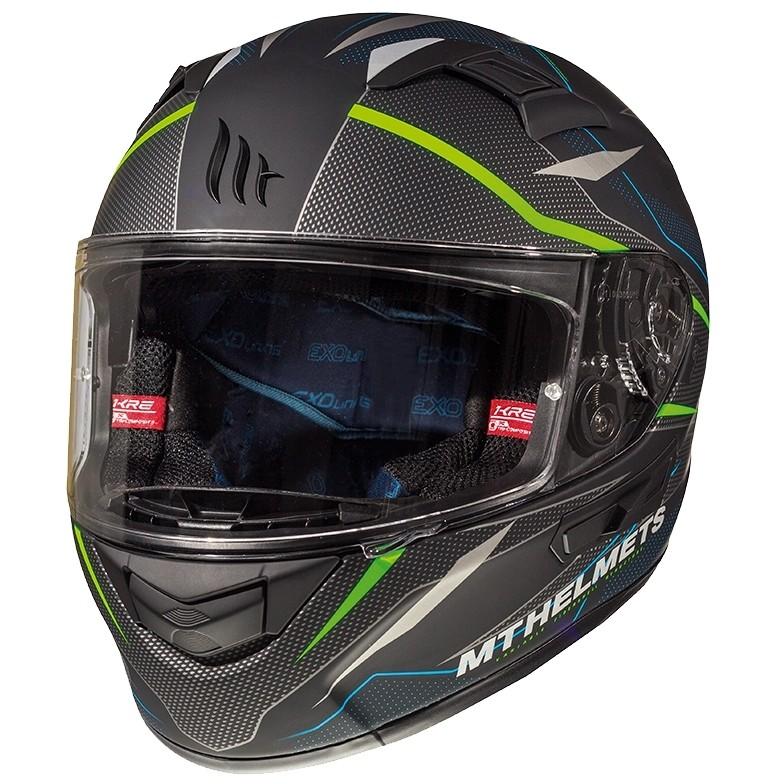 Casque moto intégral MT Casques KRE SV Double Visor Fibre Intrepid C1 Noir Vert Fluo mat