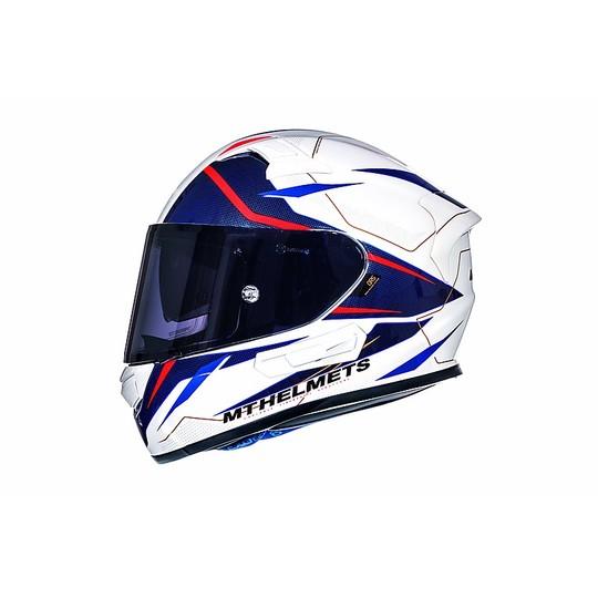 Casque moto intégral MT Casques KRE SV Intrepid Fibre Double Visor Blanc Rouge Fluo