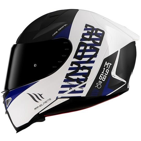 Casque moto intégral Mt Helmet REVENGE 2 CHRONO A7 Blanc Matt Blue