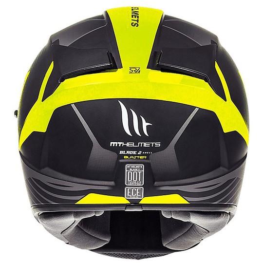 Casque moto intégral MT Helmets Blade 2 Evo Double Visor B4 Blaster jaune Fluo