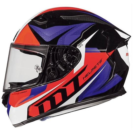 Casque moto intégral MT Helmets KRE en fibre G2 LookOut Red Fluo