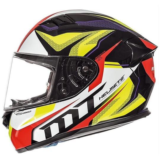 Casque moto intégral MT Helmets KRE en fibre G4 LookOut jaune fluo