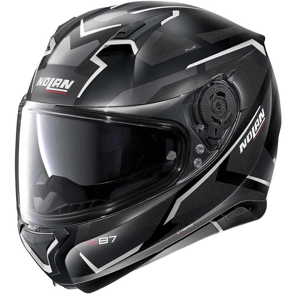 Casque moto intégral Nolan N87 Plus OVERLAND N-Com 030 Matt Black White