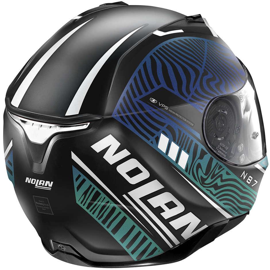 Casque Moto Intégral Nolan N87 SIOUX N-Com 107 Noir Mat Vert Bleu