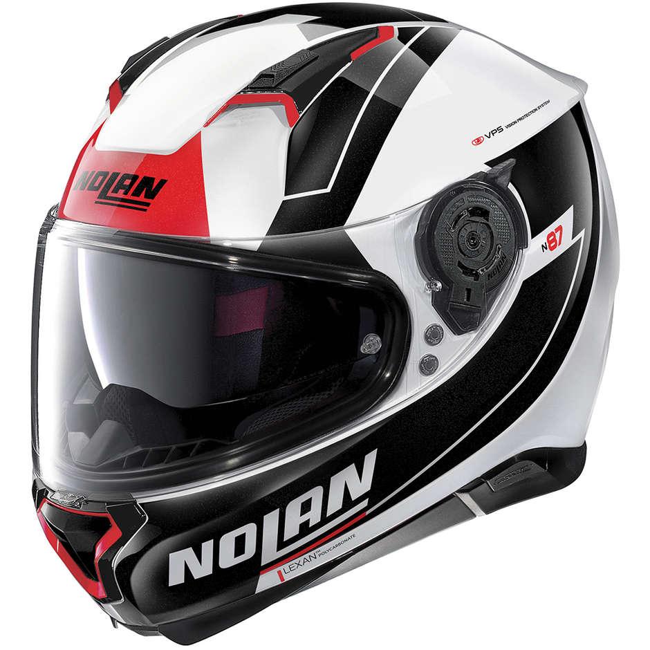 Casque Moto Intégral Nolan N87 SKILLED N-Com 098 Blanc Métal