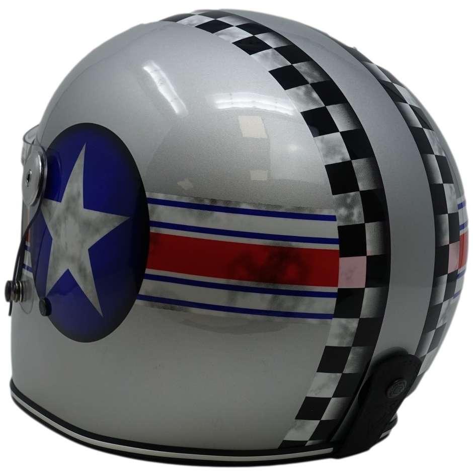 Casque Moto Intégral Personnalisé Premier TROPHY STAR CAP SILVER Edition Limitée