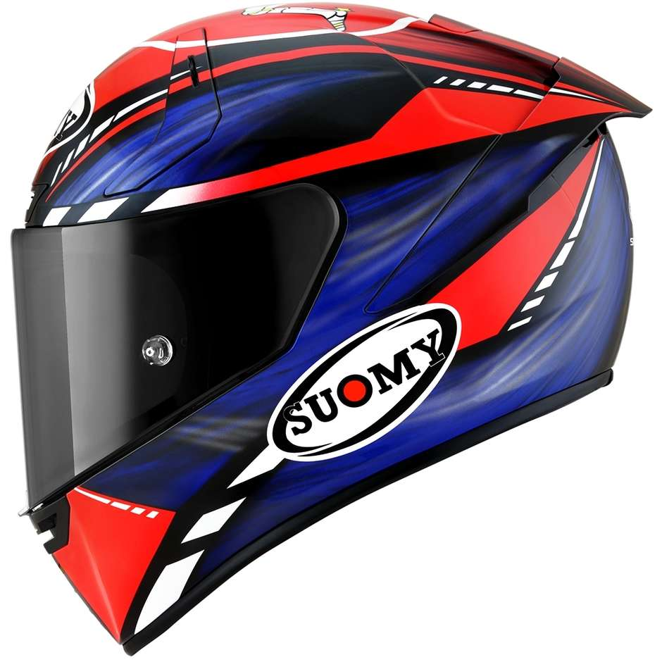 Casque Moto Intégral Racing Suomy SR-GP ON BOARD Bleu Rouge Fluo