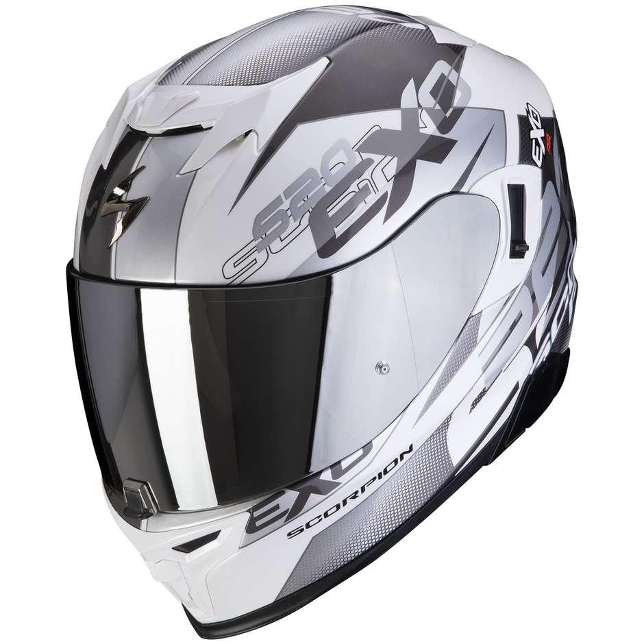 Casque Moto Intégral Scorpion EXO-520 AIR COVER Blanc Argent