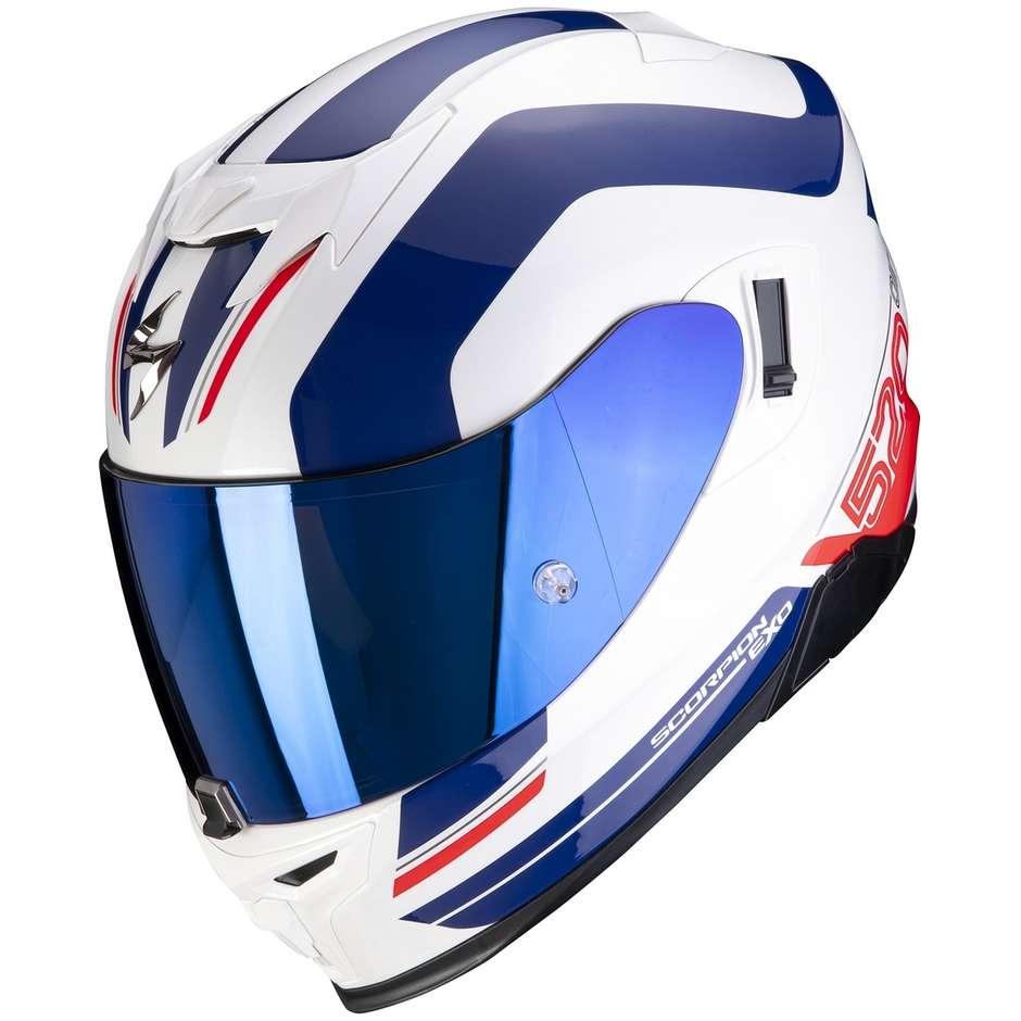Casque moto intégral Scorpion EXO-520 AIR LEMANS blanc bleu rouge