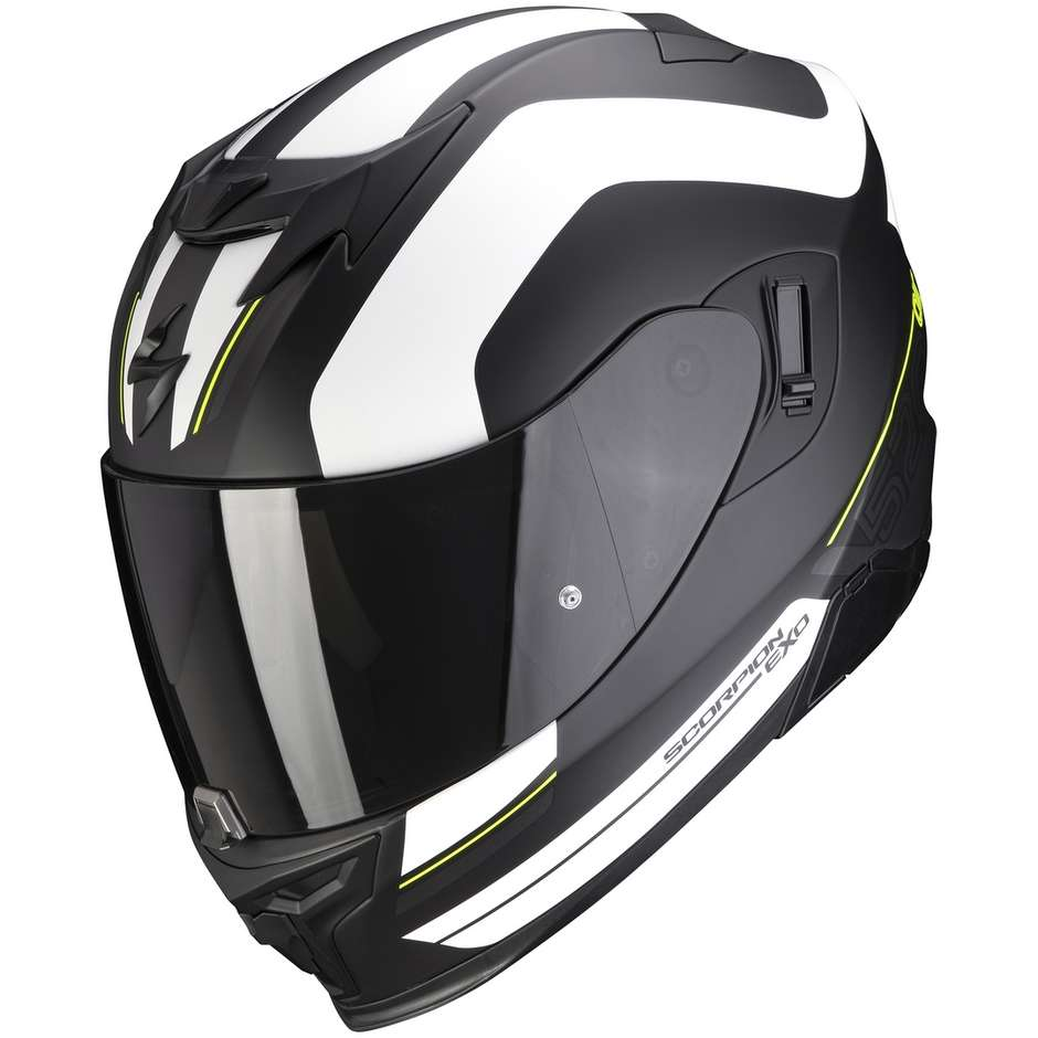 Casque moto intégral Scorpion EXO-520 AIR LEMANS Matt Black Silver White