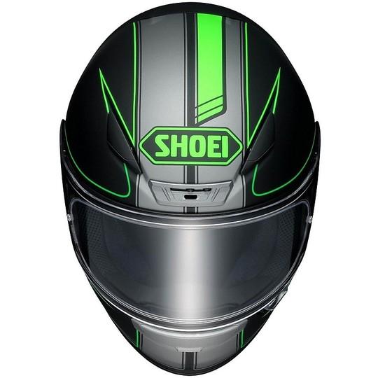 Casque moto intégral SHOEI NXR Flagger TC4 Noir Mat Vert