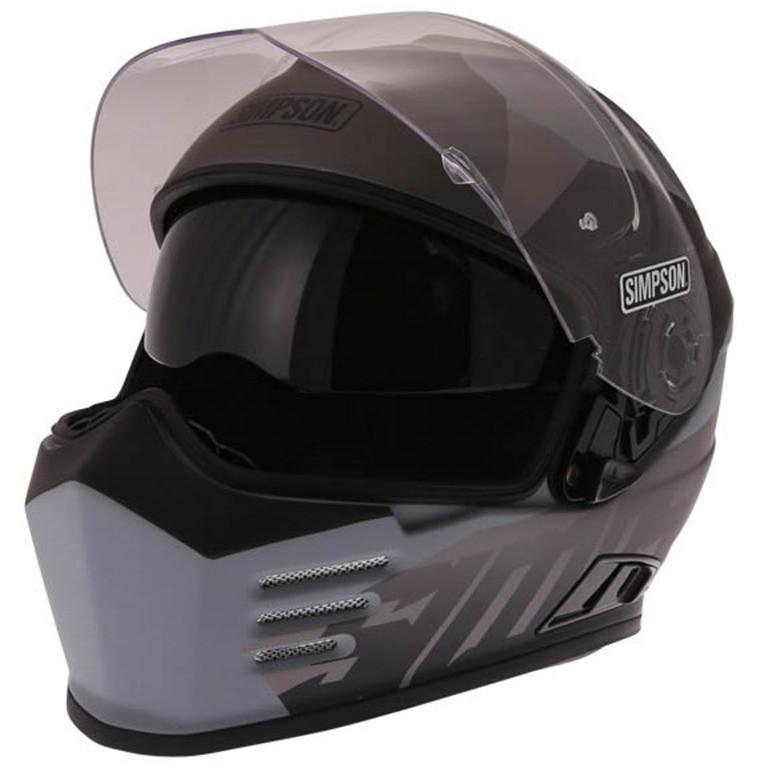 Casque Moto Intégral Simpson Venom Army Double Visière Noir Mat