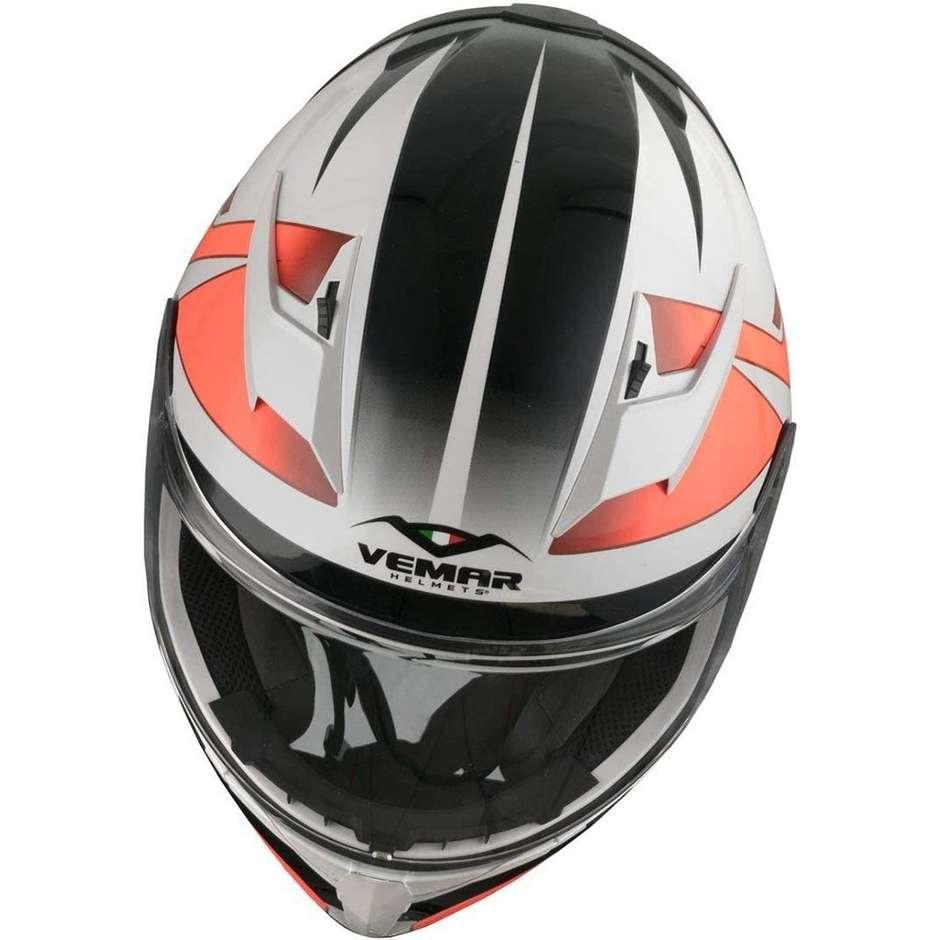 Casque Moto Intégral Vemar VH GHIBLI G024 Blanc Rouge Fluo Base
