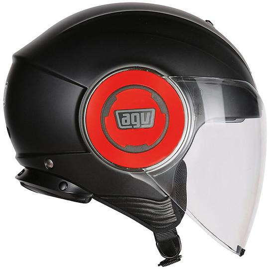 Casque Moto Jet Agv Fluid Double Visor Mono Black Matt Red