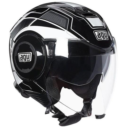 Casque moto Jet AGV Fluid Soho Noir Blanc