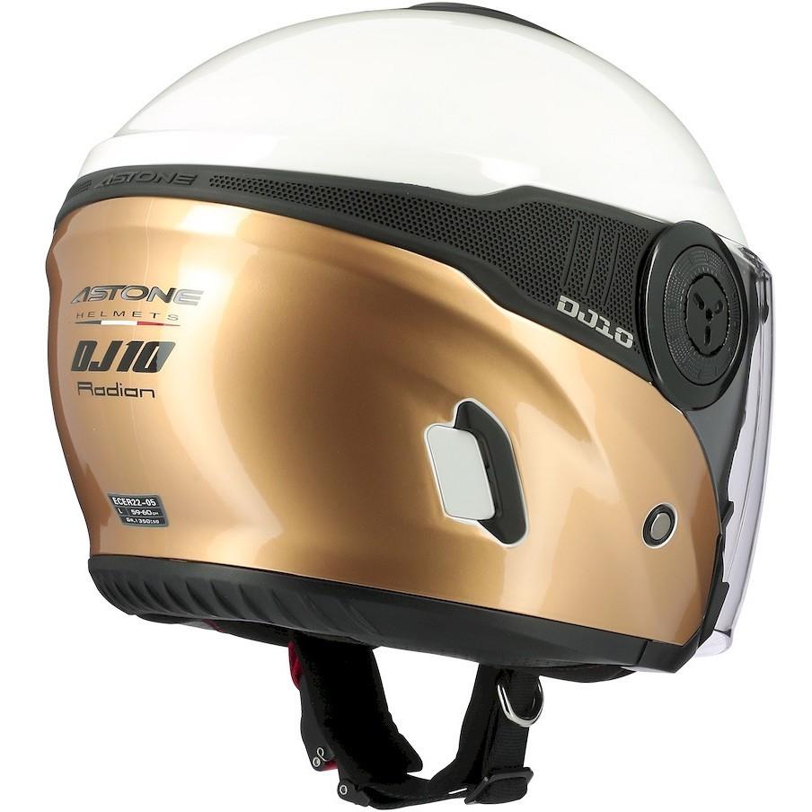 Casque Moto Jet Astone DJ10-2 RADIAN Or Blanc