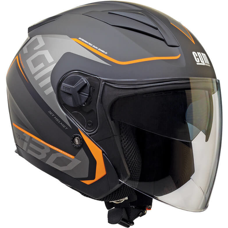 Casque Moto Jet CGM 130s APACHE Gris Orange Opaque