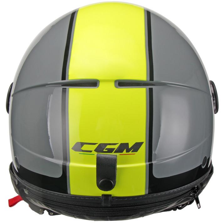 Casque Moto Jet CGM GLOBO Sport Visière Longue Gris Jaune Fluo