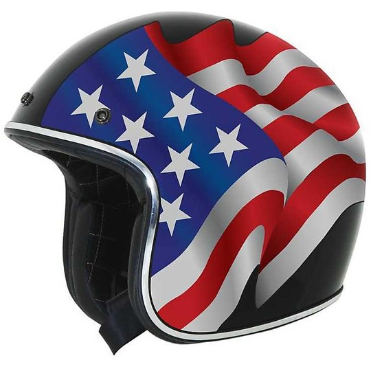 Casque moto Jet Custom AFX FX-76 Flags Freedom Black