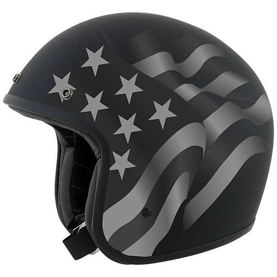Casque Moto Jet Custom AFX FX-76 Flags Freedom Stealth Black