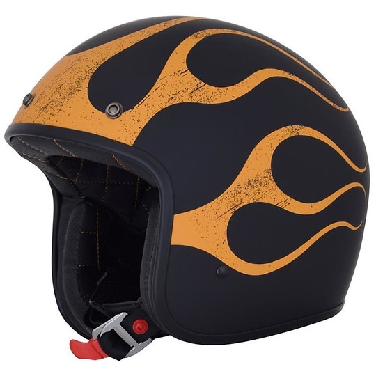 Casque moto Jet Custom AFX FX-76 Flame Matt Black Orange