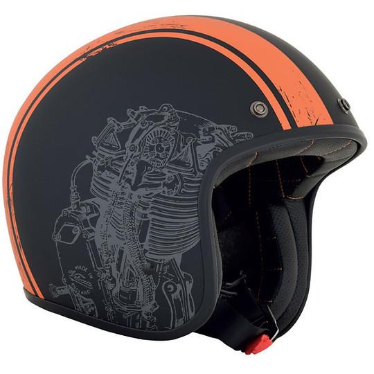 Casque moto Jet Custom AFX FX-76 Raceway Matt Black Orange