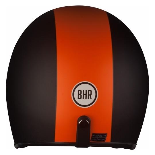 Casque Moto Jet Custom BHR 711 Orange Noir Trois Boutons