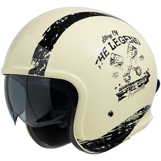 Casque moto Jet Custom iXS 880 2.0 Ivory Matt Black