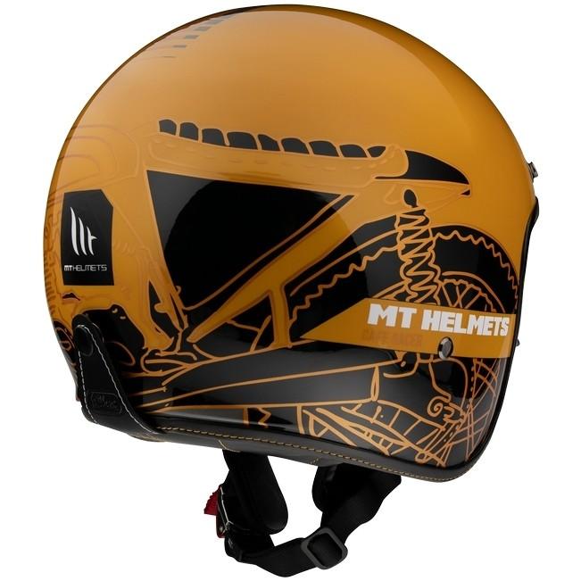 Casque Moto Jet Custom MT Casques Le Mans 2 SV CAFE 'RACER B7 Matt Gold