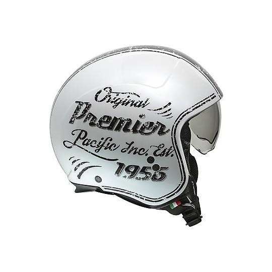 Casque moto Jet Custom Premier ROCKER OR 8 White Gloss Black