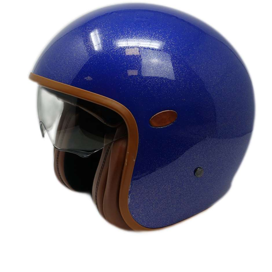 Casque Moto Jet Custom Premier VINTAGE GLITTER BLUE Limited Edition