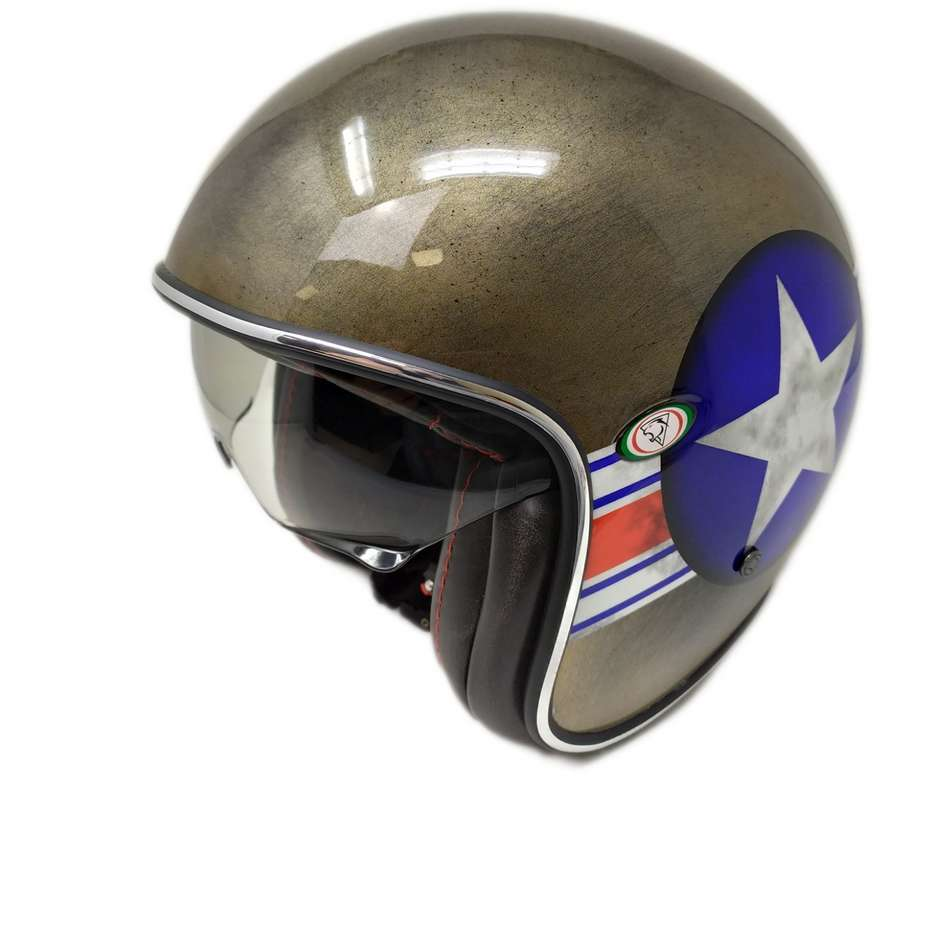 Casque Moto Jet Custom Premier VINTAGE MR STAR BRONZE Limited Edition