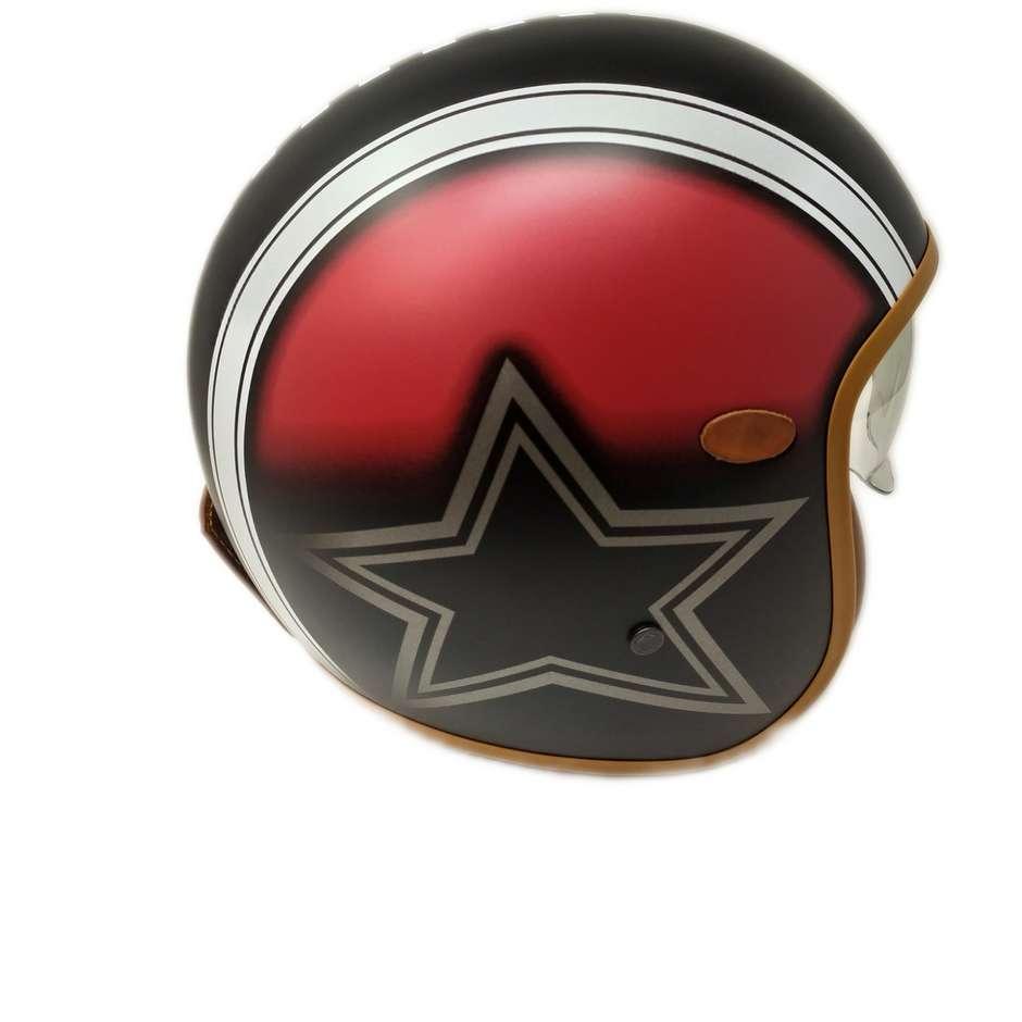 Casque Moto Jet Custom Premier VINTAGE MR STAR RED Edition Limitée