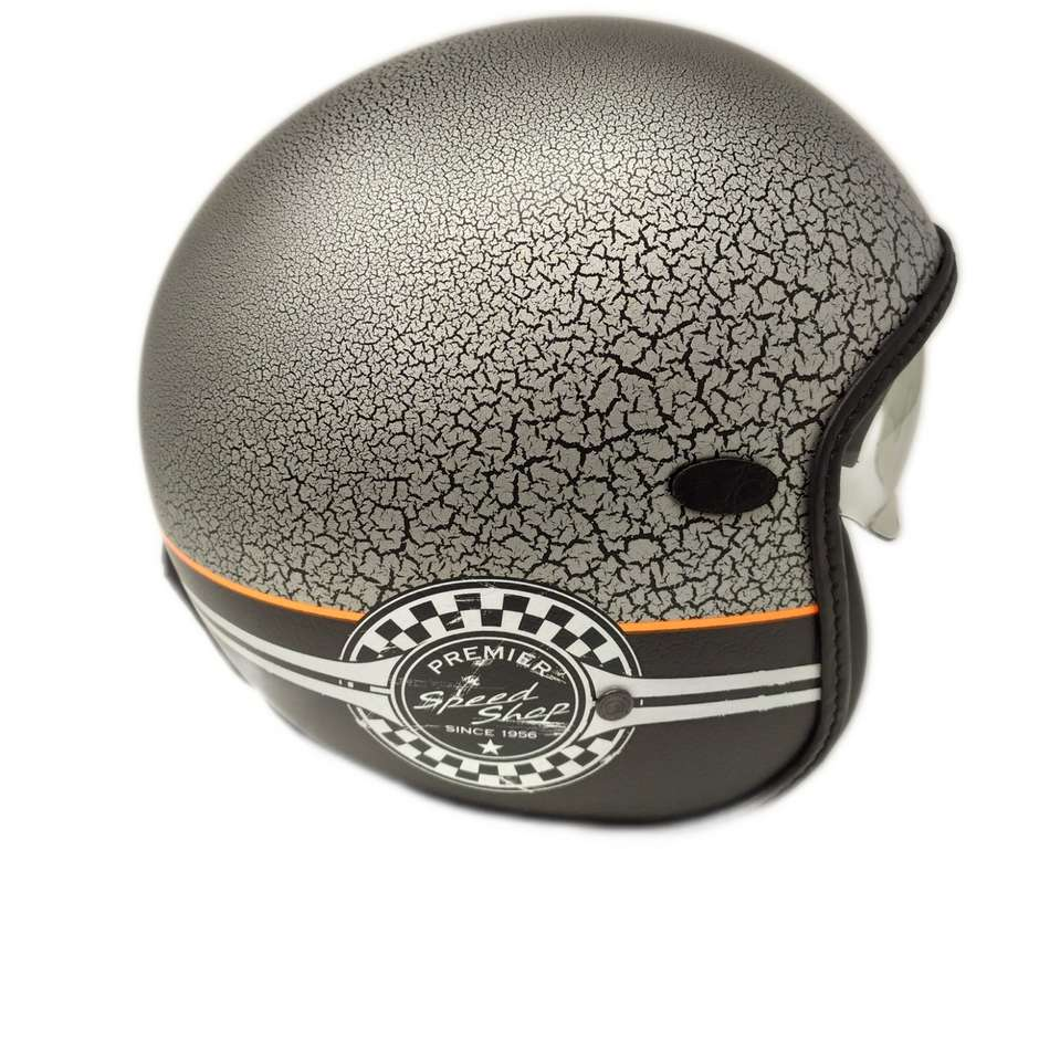 Casque Moto Jet Custom Premier VINTAGE SP CRAK GREY BM Limited Edition