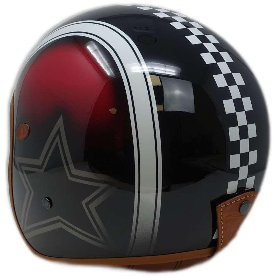Casque Moto Jet Custom Premier VINTAGE STAR CK RED BM Limited Edition