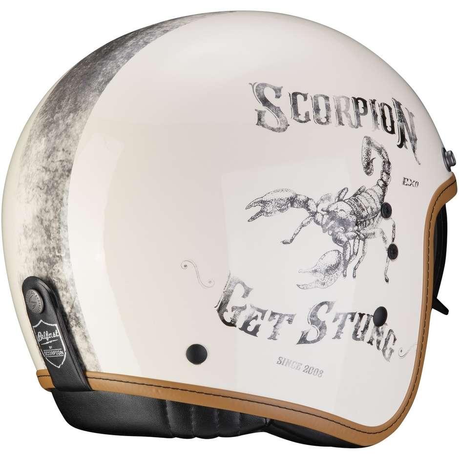 Casque Moto Jet Custom Scorpion BELFAST PIQUE Black Cream