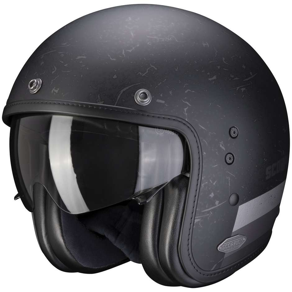 Casque Moto Jet Custom Scorpion BELFAST SHIFT Matt Black Silver