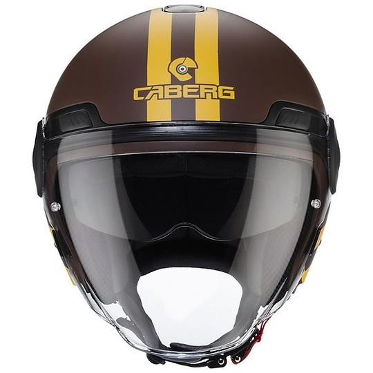 Casque Moto Jet Double Visor Caberg UPTOWN CHRONO Matt Brown Yellow