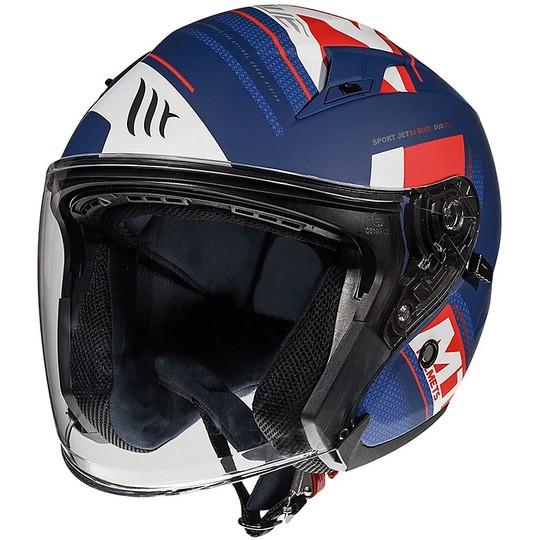 Casque Moto Jet Double Visor MT Casques AVENUE SV SIDEWAY J0 Bleu Mat Blanc