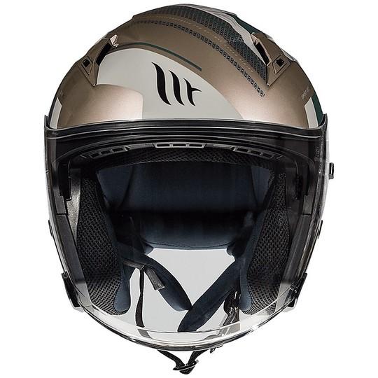 Casque moto Jet Double Visor MT Casques AVENUE SV SIDEWAY J9 Or poli
