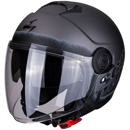 Casque Moto Jet Double Visor Scorpion EXO-CITY BLURR Matt Black Silver