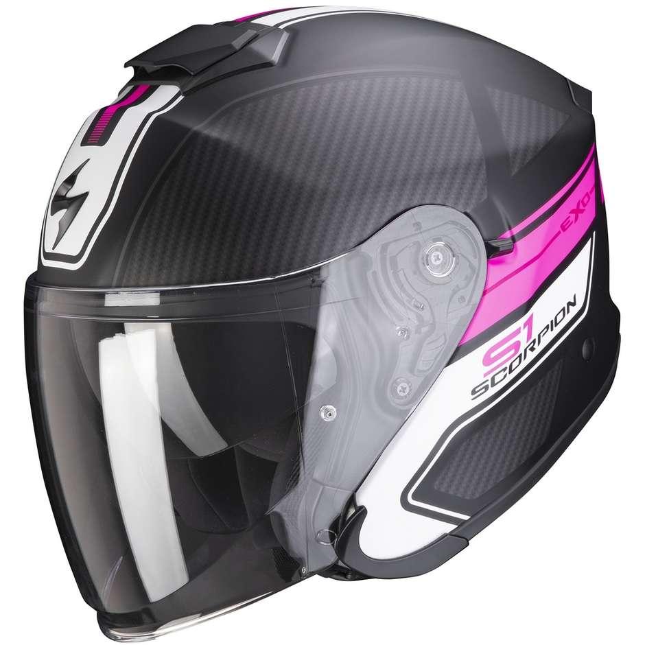 Casque Moto Jet en Scorpion Fibre EXO-S1 CROSS-VILLE Matt Black Pink