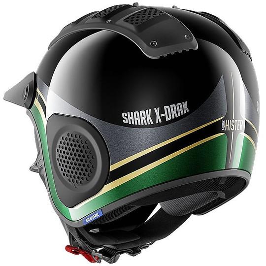 Casque Moto Jet en Shark Fibre X-DRAK HISTER Noir Vert Or